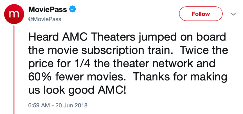 moviepass twitter AMC response